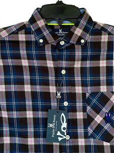 Psycho Bunny Southworth Long Sleeve Sport Shirt Men's Black Plaid NEW $125 NWT
