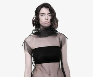 Fairy grunge sheer sexy top / mesh turtleneck / 90's transparent tulle blouse