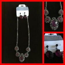 CHRISTINA C. Statement Necklace/Earrings Set Dark Silver w Purple Crystals NWT