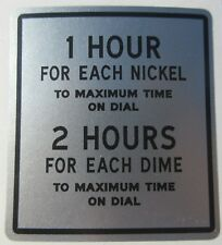 Duncan Model 50 Parking Meter Coinage Plate Decal. Great Decal !