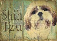 SHIH TZU Dog Print Poster -Fluffy Shihtzu -Vintage Series signd Wendy Presseisen