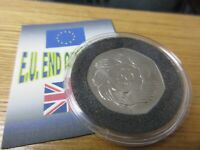 Royal Mint 1973 BUnc Coin FIFTY Pence 50p JOINING EEC BREXIT OUT OF EU CAPED/COA
