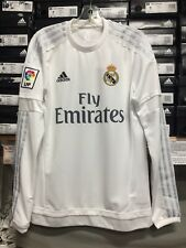 Adidas Real Madrid Home Jersey Long Sleeve White Silver Size  Small Only