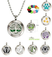 New Multi Design 20mm Perfume Essential Oil Diffuser Locket +1pc Necklace+10pads