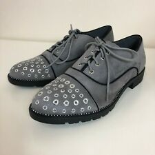 Marquiiz Ladies Grey Faux Suede Felt Silver Studded Smart Oxford Shoes UK Size 6