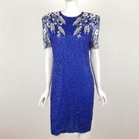 Laurence Kazar Cocktail Dress Size Medium Blue Sequin Beaded Open Back