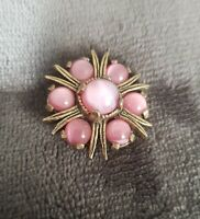 Vintage Miracle Celtic design brooch pink lustre glass cabochon stones