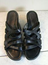 DANSKO Black Leather Intertwined Strappy Sandal Heel Shoes Women's Size 39
