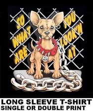 WHAT ARE YOU LOOKING AT CHAINED UP CHIHAUHUA WITH ATTITUDE DOG T-SHIRT WS46