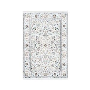 """4'1""""x6'1"""" All Over Floral Design Wool and Silk 250 KPSI Nain Handmade Rug R62734"""