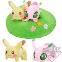 Pokemon Ichiban Kuji Pikachu's Forest Pikachu & Celebi Plush Last One Award F/S