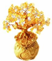 Yellow Crytal Citrine Money Tree in a Money Bag for Wealth Luck