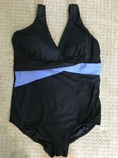 Longitude Plus Size Color Block Purple Stained Glass One Piece Swimsuit Size 18W