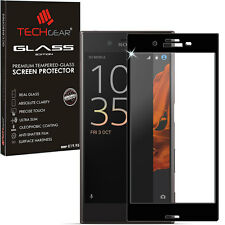 Black TECHGEAR TEMPERED GLASS FULL Coverage Screen Protector for Sony Xperia XZ