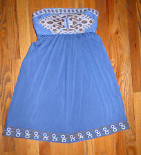 ** NICOLA BERTTI ** Gorgeous Grecian Blue Embroidered Strapless Dress Size S