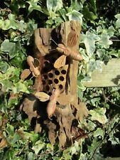 Hand Made Carved Wooden Garden Bumble Bee And Hive Wall Art Plaque Sculpture