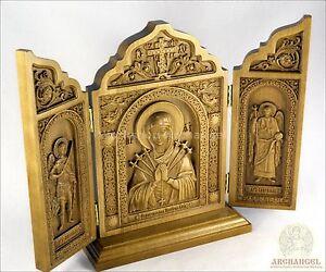 "8.5"" Wood Triptych Icon St Mother Of God Seven Arrows Michael Gabriel Archangels"