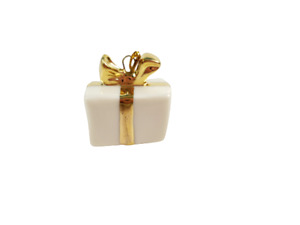 "Lenox Dr Seuss Grinch Christmas Tree Miniature Ornament - Present Gold Bow 3/4"""