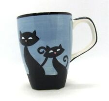 Hues N Brews Cattitude Blue Coffee Tea Cup Black Siamese Cats Ceramic Cat Paws