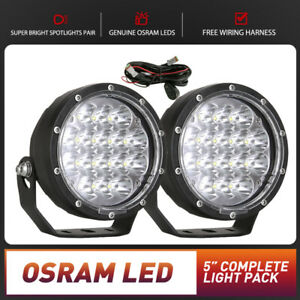 Pair 5inch LED Driving Lights Work Spot Spotlights OSRAM Round Offroad 4WD Black