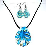 MN428 Blue & Gold Swirl White Lampwork Glass Spoon Pendant Necklace & Earrings
