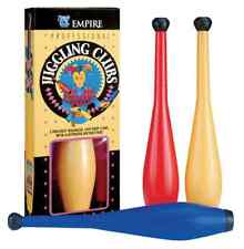 Set of 3 BALANCED JUGGLING CLUBS red blue yellow plastic Juggle Magic Trick how