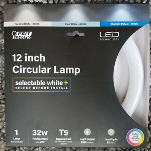 """Feit Electric 12"""" Circular Lamp (FC12T9) Bulb 32W Selectable White Color 🆕⭐"""