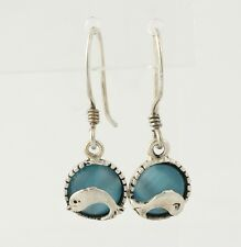 Dolphin Earrings - Sterling Silver Simulated Blue Cat's Eye Hook Pierced Dangle