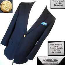 JOSEPH & FEISS $350 2-BUTTON 1-VENT NAVY WOOL BLAZER MADE IN CANADA 36R 40R MINT