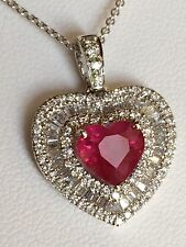 18K GOLD 4.83 CT GIA CERT NO HEAT UNHEATED RUBY DIAMOND HEART PENDANT NECKLACE!!