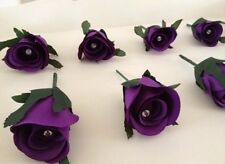 Artificial Cadburys Purple X1 Wedding Rose Button Hole With Crystal Pin