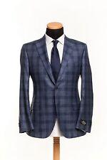 BELVEST Hand Made in Italy Jacket Wool Silk Linen Checks Blue 42 US 52 EU 7R