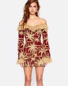 BNWT ALICE MCCALL BURGUNDY DEADLY LADY DRESS - SIZE 8 AU/4 US (RRP $360)