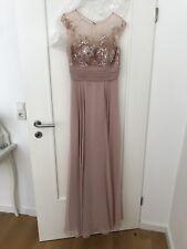 Abiballkleid/ langes Abendkleid in Altrosa mit Pailletten