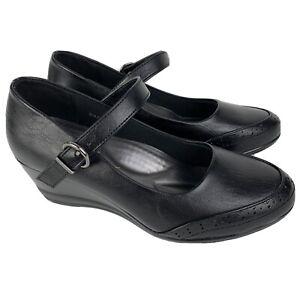 Rasolli Women Shoes Pump Wedge Mary Jane Black Faux Leather Size 6