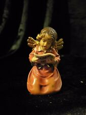 Bell Angel With Sheet Music, Hand Carved Painted Figurine Statue 3""