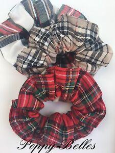 Handmade large tartan hair scrunchies x1 royal or dress Stewart  & caramel