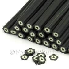 3x Hecho a Mano Negro Y Blanco Flor Nail Art canes (enc26)