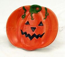 Halloween Decorative Hand Painted Ceramic Pumpkin Jack O Lantern Candy Dish