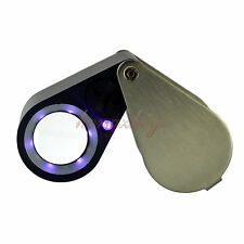 20X Diamond Jewelry Loupe Magnifier + LED & UV light 21mm lens Free Leather Case