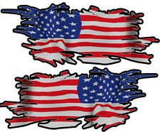 USA RIPPED FLAG LEFT & RIGHT 75MM BY 30MM GLOSS LAMINATED