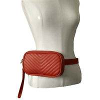 Steve Madden Womens Small Chevron Quilted Belt Bag Purse Red Vegan Leather $79