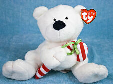 Ty Pluffies Candy Cane White Teddy Bear Plush Stuffed Animal Baby Lovey Tag 2005