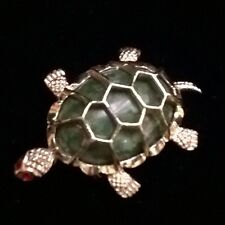 Gerry Turtle Pin - Brooch with Green Colored Stone & Red Eyes SIGNED GOLD TONE