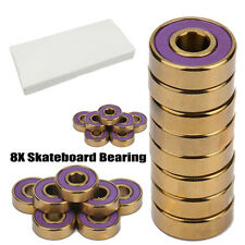 DarkWolf Skateboard Bearings Titanium ABEC-11 Lila Gold 8PCs + 4PCs Spacer DE