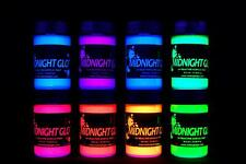 Midnight Glo UV Paint Acrylic Black Light Reactive Set of 8 Bottles 0.75oz Each