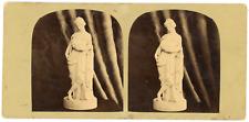 STEREO Sculpture, statue femme déesse Talia, circa 1870 Vintage stereo card - Le