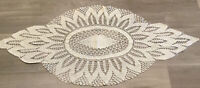 Vintage Hand Crocheted Dresser Scarf Or Table Runner, Polyester, Creamy Ivory