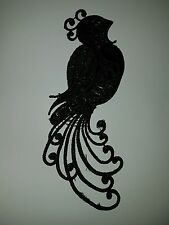 Black embroidery Peacock patch lace applique irish dance dress costume