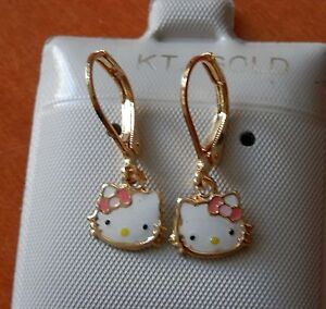 14K Gold Filled PINK Hello Kitty hanging Earrings / Teenager Children / QUALITY